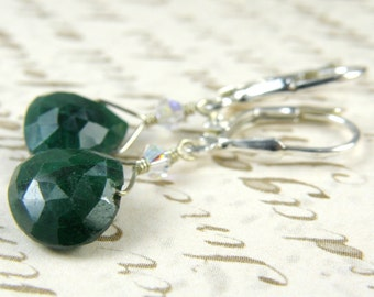 Emerald Earrings, Green Gemstone Earrings, Birthstone May Jewelry, Sterling Silver Handmade Jewelry, May Birthday