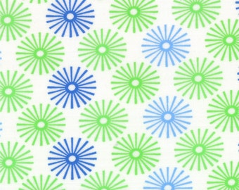 White Blue Green Bursts Hubba Hubba Fabric - Moda - Me and My Sister