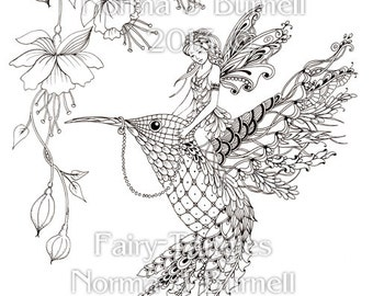 magical ride fairy tangles printable adult coloring book pages fairies hummingbird flowers digital coloring sheets - Coloring Pages Dragons Fairies