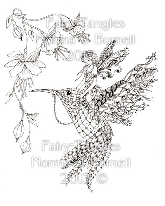 magical ride fairy tangles printable adult coloring book pages fairies hummingbird flowers digital coloring sheets by norma j burnell - Coloring Pages Fairies Flowers