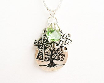 Celtic Tree of Life Necklace - with Celtic Cross Charm, Celtic Eternity Knot Charm and Green Crystal - on Sterling Silver Chain