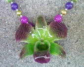 REAL Shades of Radiant Orchid and Green ORCHID Amethyst, Jade and Pearls Sterling Silver Necklace