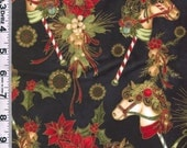 Fabric Hoffman Dashing all the Way Christmas Hobby Horses poinsettias holly metallic gold on black