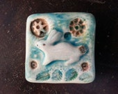 Marcia Hovland Rabbit Tile 2x2 inch.embossed,porcelain,colorful glaze,white clay