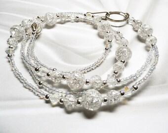 BEST Seller Crystal Crackle / White Quartz / Sterling Silver / Beaded Lanyard or Eyeglass Leash / BREAKAWAY Lanyard Teacher / Nurse