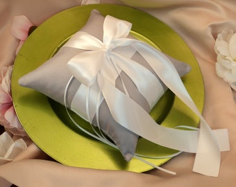 Romantic Satin Ring Bearer Pillow...You Choose the Colors...Buy One Get One Half Off...shown in silver gray/white