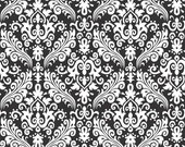 WINTER SALE - Hollywood Medium Damask - 1 Yard - C830-110 Black - by Rbd Designers for Riley Blake Designs