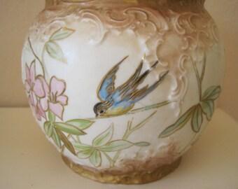 Victorian Biscuit Jar Hand Painted Porcelain Blue Bird Swallow Floral Pastel