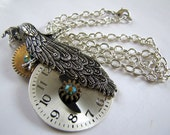 "Steampunk No. N174 Peacock & Clockface Necklace w/Vintage Clock Gears and Emerald Swarovksi Crystals 18"" Chain"