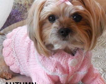Cardigan Dog Sweater, Hand Knit Pet Sweater, Button Front, Size SMALL, Piper Cardigan Sweater Pink