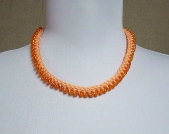 Beaded Adjustable Necklace in Soft Orange - Ready To Ship Crochet Cotton Choker