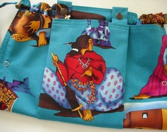KNITTING BAG APRON - Ready to Ship   Rare Alexander Henry Fabric Native American Woman Spinner Teal - Allow 3 weeks for delivery