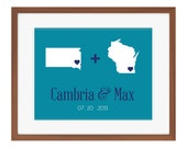Anniversary Gift Couple From Different States Love Equation Custom Wedding Print