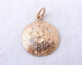 Diamond and 18k Yellow Gold Full Moon Pendant- Made by Chasing Jewelry