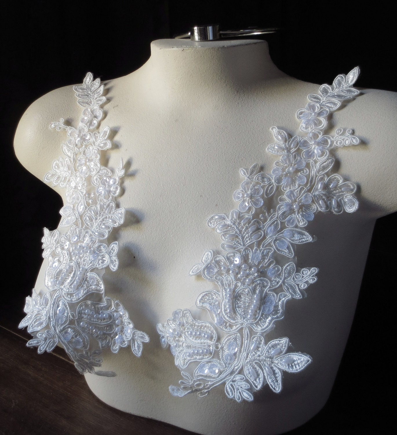 ivory beaded lace applique pair for lyrical white
