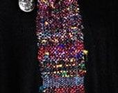 Women's Scarf. Handwoven Sari Silk w/Plum Chenille.