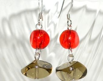 Beaded dangle earrings, dangle earrings,simple boho earrings, dainty Victorian earrings, beaded earring, long dangle earring red and olive