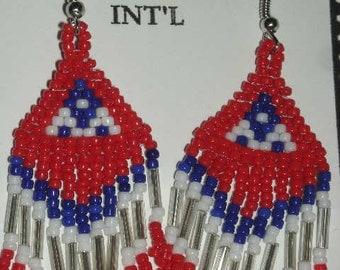 Red/White/Blue Beaded Earrings