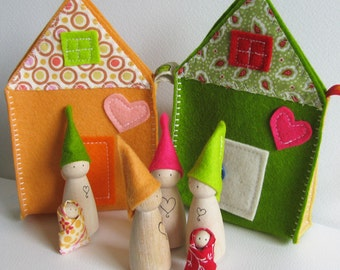 Waldorf toys all natural- Sweet little travelling gnome family house - GREEN  -