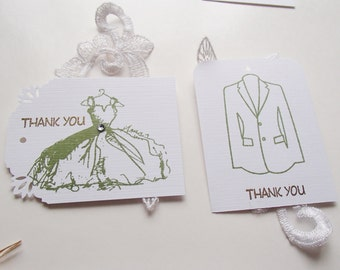 Handmade Embossed Thank You Tags- Vintage Dress- Or Tuxedo