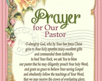 Prayer For Our Pastor / Prayer / Printable - 5x7 Inch Digital Collage Image / Ready to Print Art / Postcard - Instant Download - Digital JPG