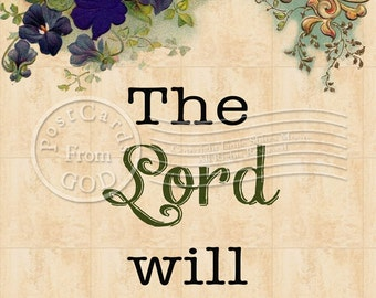The Lord Will Provide / Scripture Printable Art / Christian Religious - 5x7 Inch Printable Postcard - Printable Download - Digital JPG