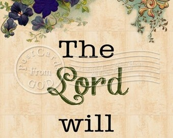 The Lord Will Provide / Scripture Christian Religious - 5x7 Inch Digital Collage Image Postcard - Printable Instant Download - Digital JPG