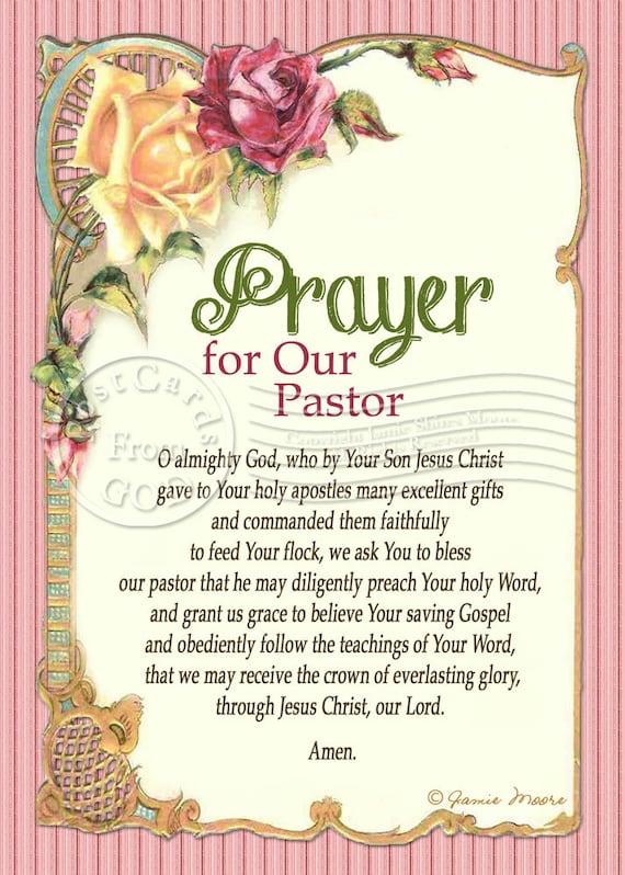Prayer For Our Pastor Printable Prayer Frameable Art / Card