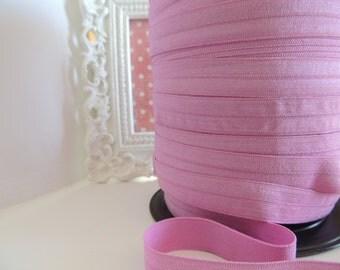 "5/8"" Inch Fold Over Elastic - 5 Yards of Night Pink FOE"