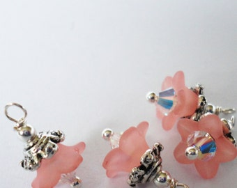 NEW Crystal  Blossom Charms dangles Pink  flowers small pendants jewelry making bead supplies