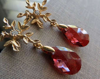 Red crystal earrings, bridesmaid earrings, gold flower post, red swarovki earrings, bridal jewelry, weddings