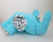 Stuffed Animal Elephant toy -  Turquoise Terry Cloth with Gray Chevron fabric
