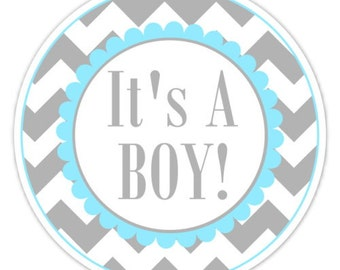 Baby Shower Labels, Chevron It's A Boy Stickers - 2.5 inch round - It's a Boy Labels, choose YOUR colors