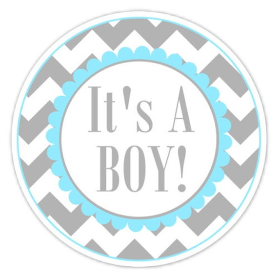 baby shower labels chevron its a boy stickers 25 inch