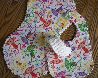 Fun Monkey Gift Set for Baby Girl Chenille Back 1 Burp Cloth, 1 Bib