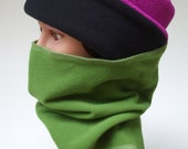 Runner's and Cycler's Cowl Neck Warmer in Premium Wind/Rain Fleece, Fern Green, One Size, Protective