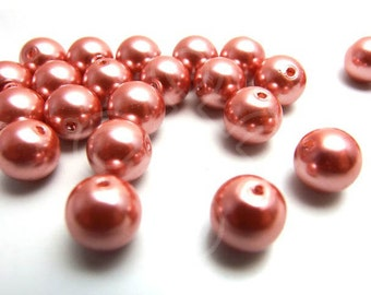 M10FUGP / 24 Pc / 10 mm / Pale Salmon Metallic Bronze Glass Pearl Beads