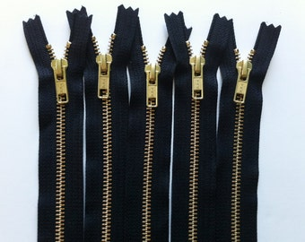 NUMBER 5s -Brass Zippers- closed bottom ykk gold metal teeth 5mm- (5) pieces - Black 580- Available in 5,6,7,8,12, and 20 Inches