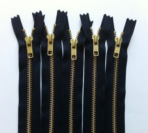 NUMBER 5s -Brass Zippers- 20 inch closed bottom ykk gold colored metal teeth zips 5mm- (5) pieces - Black 580
