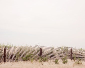 beach photography / fence, wood, neutral, oatmeal tones, new england, coast, lean / the lines at the beach / 8x10 fine art photo