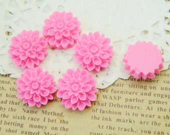 10pcs 17mm Lucite Hot Pink Flower Cabochons R123