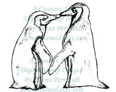 INSTANT DOWNLOAD Digital Stamp Image KiSSing PENGUINS