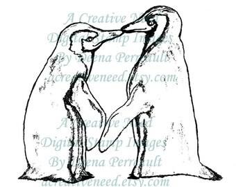 INSTANT DOWNLOAD Digital Stamp Image KiSSing PENGUINS