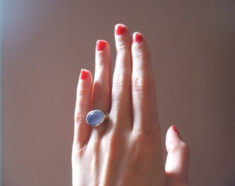 Faceted chalcedony sterling silver ring - Size 5 - On sale
