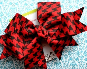 Cranberry and Black Houndstooth XL Diva Bow