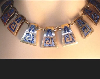 Vintage silver Turquoise mosaic Indian necklace