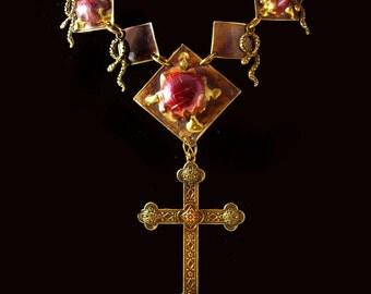Bizarre Spider Snake Necklace Gothic Cross Hand enameled