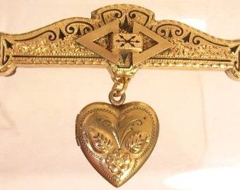 Antique Locket Enamel rose gold locket brooch