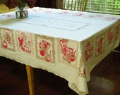 1950s Print Tablecloth Vintage Kitchenware in Pink Gold Accents on White Home Decor Linen