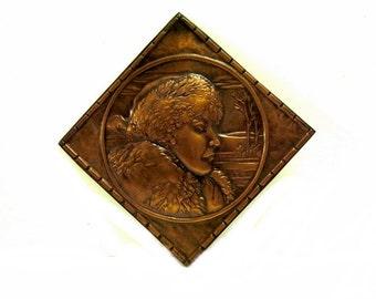 Copper Plaque Portrait of a Women Series Albert Gilles Signed 1930s Vintage
